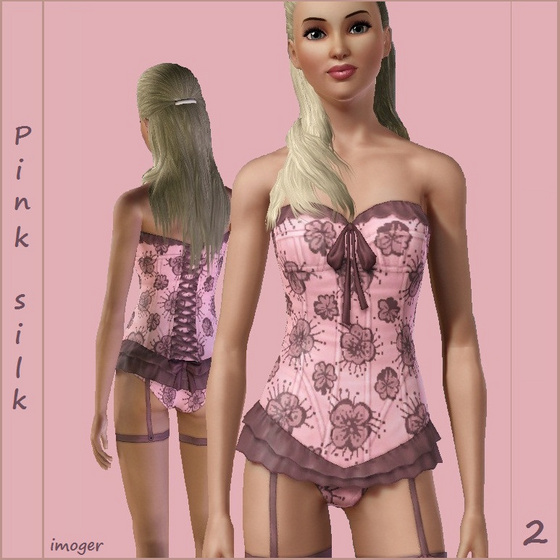 Pink silk - lingerie 2 - by imoger